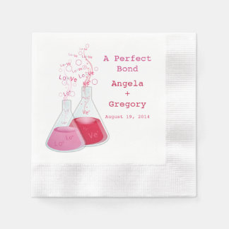 Geek Heart Chemistry Offbeat Personalized Wedding Disposable Napkins