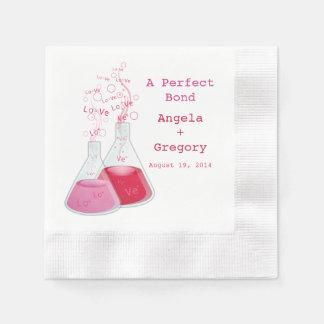 Geek Heart Chemistry Offbeat Personalized Wedding Paper Napkin