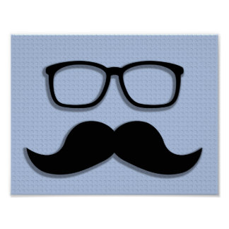 Geek Hipster Moustache Glasses Poster