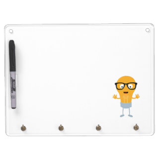 Geek light bulb with glasses Z76fc Dry Erase Board With Keychain Holder