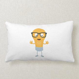 Geek light bulb with glasses Z76fc Lumbar Pillow