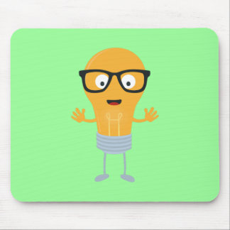 Geek light bulb with glasses Z76fc Mouse Pad