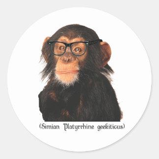 geek monkey classic round sticker