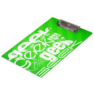 Geek; Neon Green Stripes Clipboards
