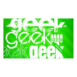 Geek; Neon Green Stripes Pack Of Standard Business Cards