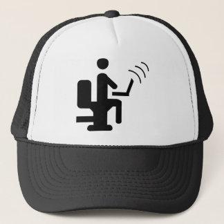 geek on toilet trucker hat