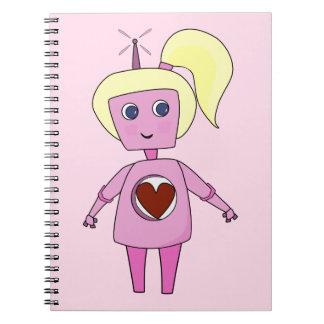 Geek Pink and Cute Robot Notebook