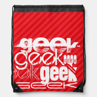 Geek ; Rayures de rouge d'écarlate Sacs Avec Cordons