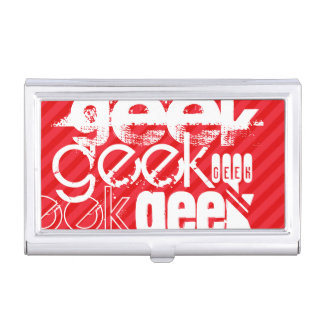 Geek; Scarlet Red Stripes Business Card Cases