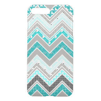 Geek Turquoise, Mint and White Chevron pattern iPhone 7 Plus Case