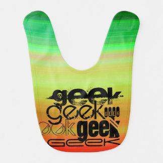 Geek ; Vert, orange vibrants, et jaune Bavoirs De Bébé
