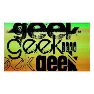 Geek; Vibrant Green, Orange, & Yellow Business Card
