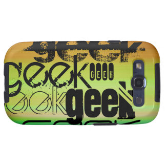 Geek; Vibrant Green, Orange, & Yellow Galaxy S3 Cover