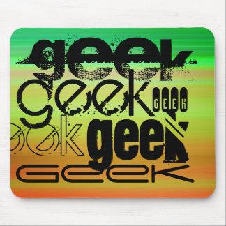 Geek; Vibrant Green, Orange, & Yellow Mouse Pad