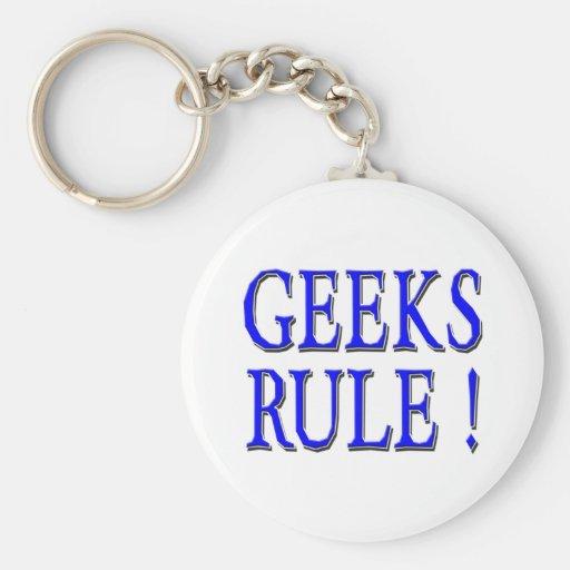 Geeks Rule !  Blue Keychains