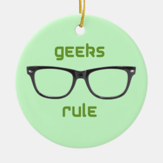 Geeks Rule Eyeglasses Ceramic Ornament