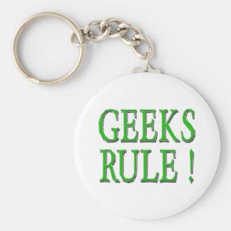 Geeks Rule !  Green Basic Round Button Keychain
