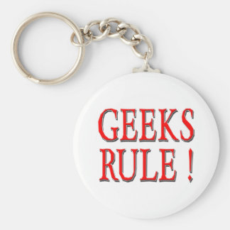 Geeks Rule !  Red Basic Round Button Keychain