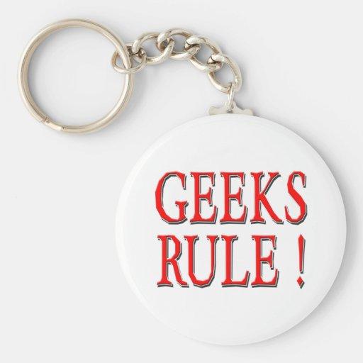 Geeks Rule !  Red Keychains