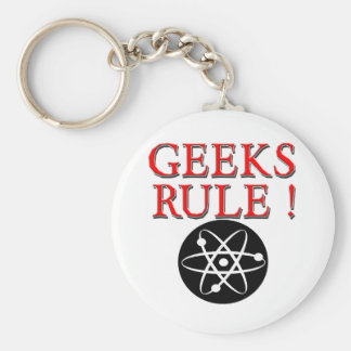 Geeks Rule !  with Atom Basic Round Button Keychain