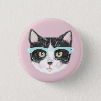 Geeky Black & White Hipster Cat Wearing Glasses 1 Inch Round Button
