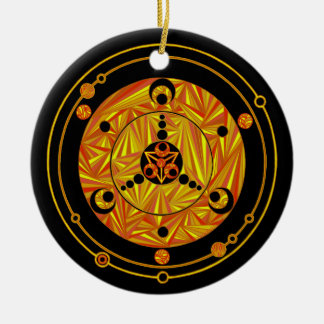 Geeky Christmas Scifi Crop Circle Design Holiday Ceramic Ornament