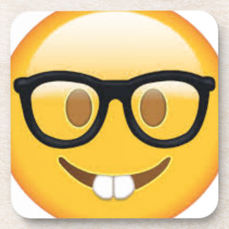 Geeky Emoji Smiley Face Coaster