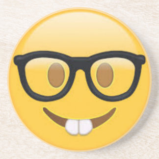 Geeky Emoji Smiley Face Coaster