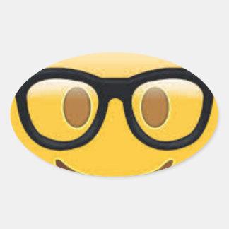 Geeky Emoji Smiley Face Oval Sticker
