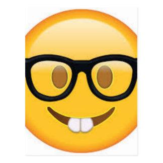 Geeky Emoji Smiley Face Postcard