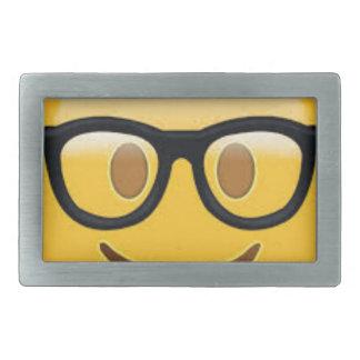 Geeky Emoji Smiley Face Rectangular Belt Buckle