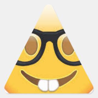 Geeky Emoji Smiley Face Triangle Sticker