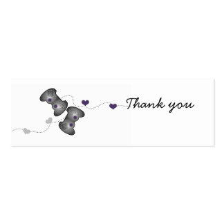 Geeky Gamer Thank You Mini Cards (Silver/Purple) Business Card Templates