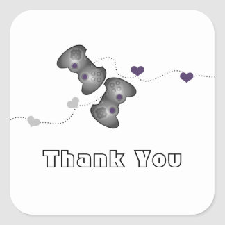 Geeky Gamers Thank You Stickers (Silver/Purple)