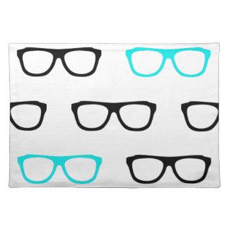 geeky glasses blue geek placemat