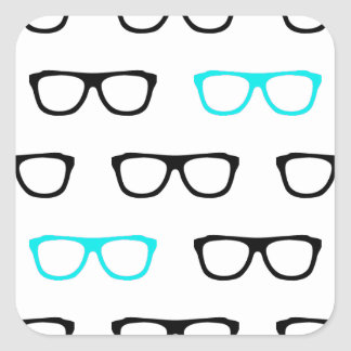 geeky glasses blue geek square sticker