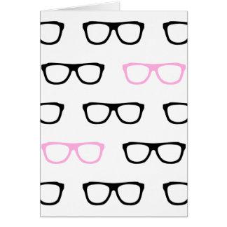 geeky glasses pink geek card