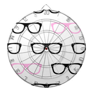 geeky glasses pink geek dartboard with darts