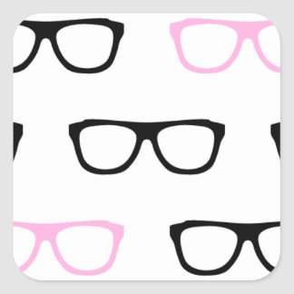 geeky glasses pink geek square sticker