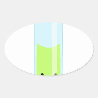 Geeky kawaii test tube oval sticker