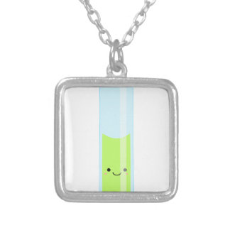 Geeky kawaii test tube silver plated necklace