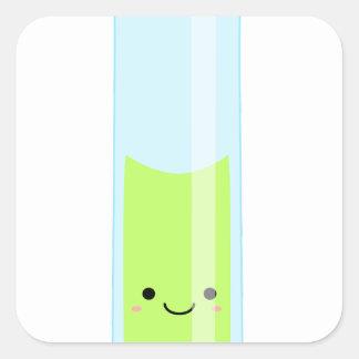 Geeky kawaii test tube square sticker