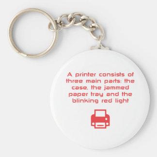 Geeky printer joke keychain