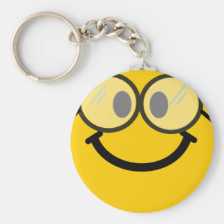 Geeky smiley basic round button keychain