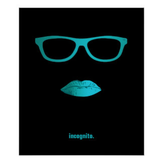 Geeky teal blue lips and glasses poster
