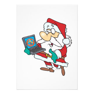 geeky technology savvy santa with a laptop cartoon invites
