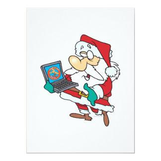 geeky technology savvy santa with a laptop cartoon custom invitation