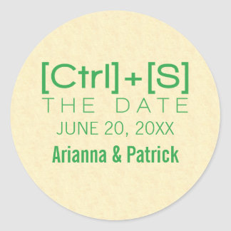 Geeky Typography Save the Date Stickers, Green