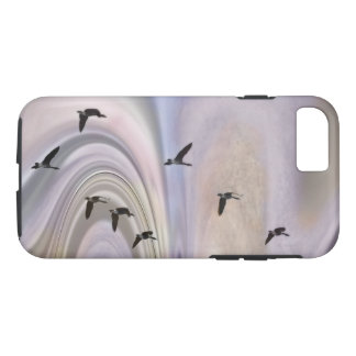 Geese and colors in a borealis Flyway Phone case