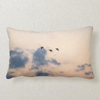 Geese and Soft Sunset Lumbar Pillow